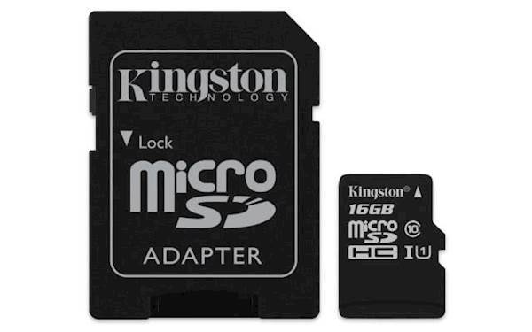 SDHC Kingston micro SD 16GB CANVAS SELECT 80/10MB/s, UHS-I Speed Class 1 (U1), adapter