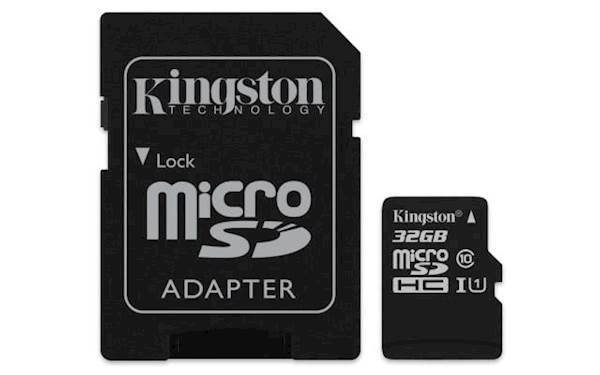 SDHC Kingston micro SD 32GB CANVAS SELECT 80/10MB/s, UHS-I Speed Class 1 (U1), adapter