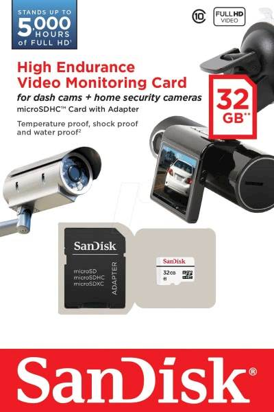 SDHC SanDisk micro SD 32GB HIGH ENDURANCE VIDEO 20/10MB/s, UHS-I C10, V10, adapter