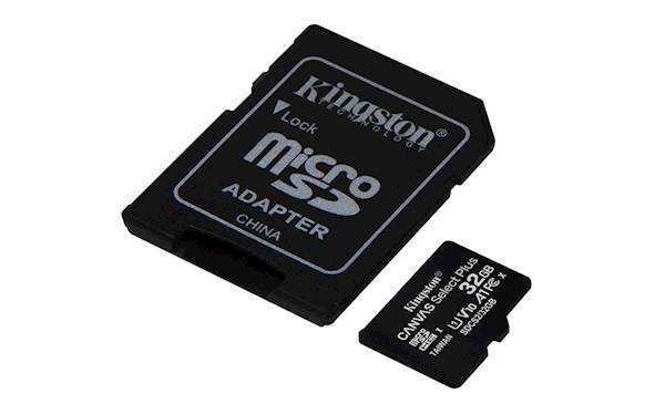 SDHC Kingston micro 32GB CANVAS SELECT Plus, 100MB/s, C10 UHS-I, adapter