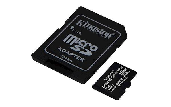 SDHC Kingston micro 16GB CANVAS SELECT Plus, 100MB/s, C10 UHS-I, adapter