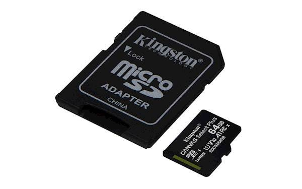 SDXC Kingston micro 64GB CANVAS SELECT Plus 100MB/s, C10 UHS-I, adapter